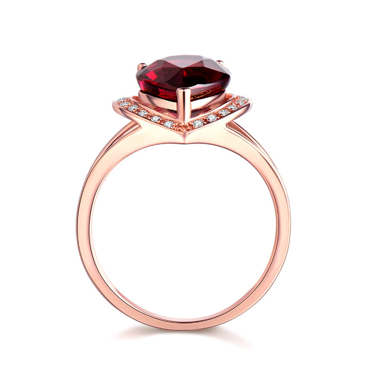 Wiley Hart Designer's Ring Red Sapphire Pear Cut Engagement Ring in Gold or Silver