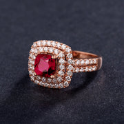 Wiley Hart Elegant Red Sapphire Ring Radiant Cut Double Halo Engagement Ring Gold or Silver