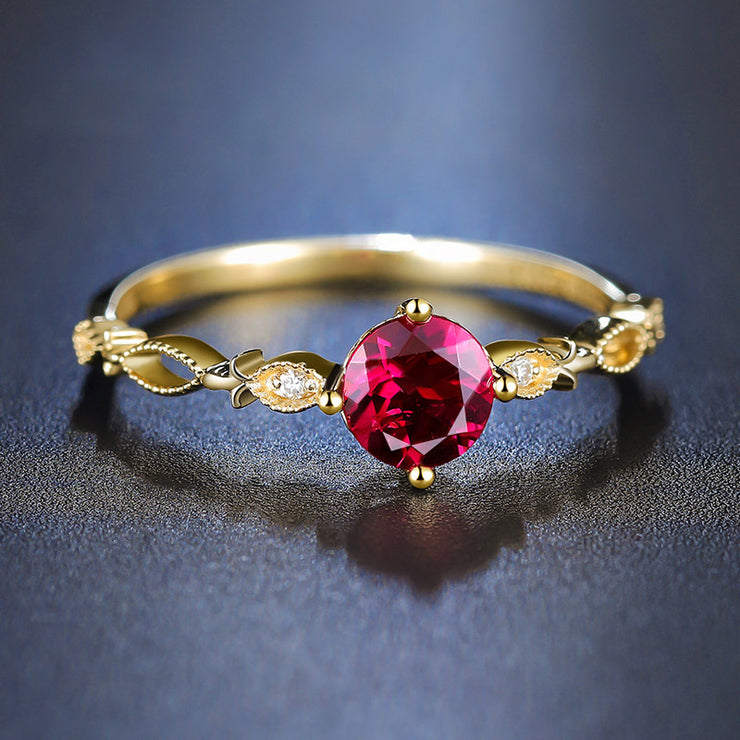 Wiley Hart Royal Red Sapphire Women's Ring Band Wedding Engagement Ring Band Gold or Silver