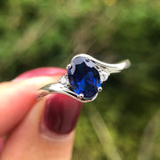 Romantic Blue Sapphire 2 Carats Oval Cut Solitaire Engagement Ring Wedding Rings White Gold or Sterling Silver Wiley Hart