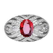 Wiley Hart I Am the Boss Red Sapphire Women's Bold Ring in White Gold or Silver