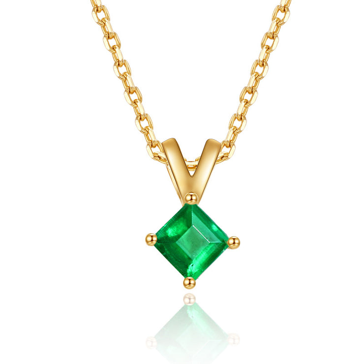 Wiley Hart 14K Gold or Sterling Silver Women's Cute Princess Cut Engagement Necklace with Green Sapphire Stone