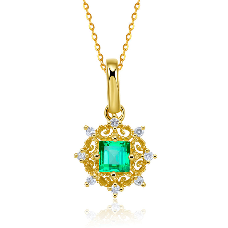Wiley Hart 14K Gold or Sterling Silver Women's Fashion Square Natural Emerald Cut Necklace with Princess Green Sapphire Stone