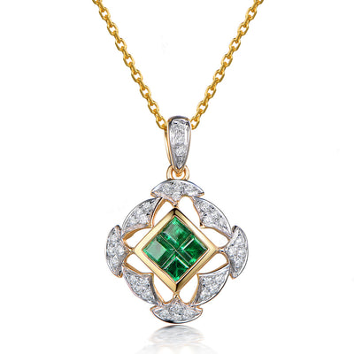 Wiley Hart 14K Gold or Sterling Silver Women's Geometric Square Pendant Necklace with Emerald Cut Green Sapphire Stone