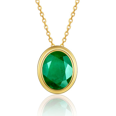 Wiley Hart 14K Gold or Sterling Silver Women's Vintage Oval Engagement Necklace Fine Jewelry with Big Green Sapphire Stone