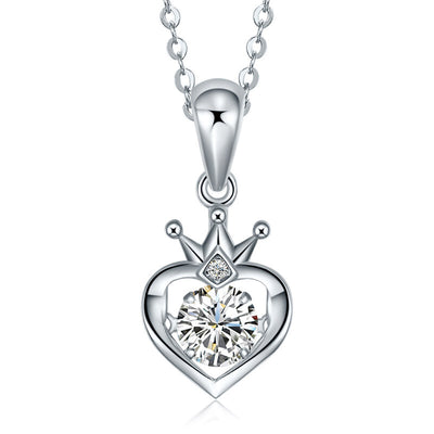 Wiley Hart Handmade Jewelry 14K White Gold or Sterling Silver Women's Simple Charm Engagement Necklace with White Sapphire Stone