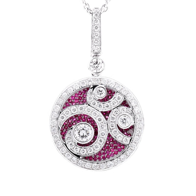 Wiley Hart 14K White Gold or Sterling Silver Women's Round Engagement Necklace with Small White & Pink Sapphire Stone