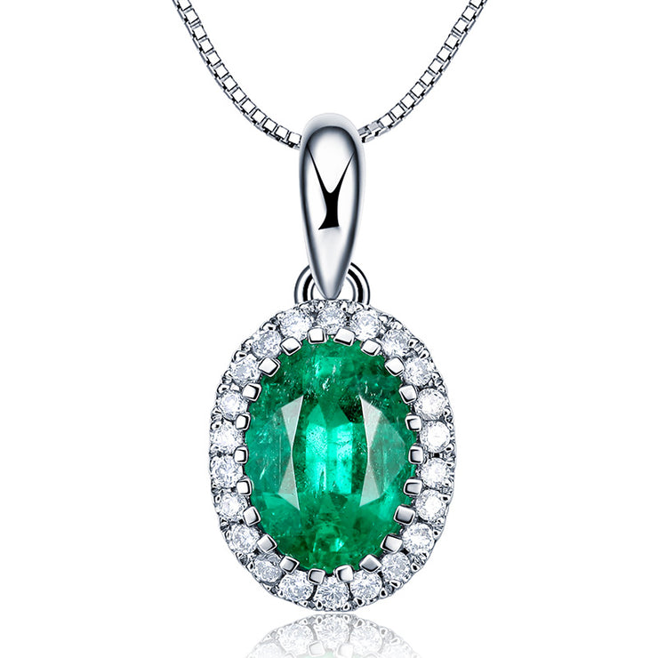 Wiley Hart 14K White Gold or Sterling Silver Women's Halo Oval Necklace with Green Sapphire Stone