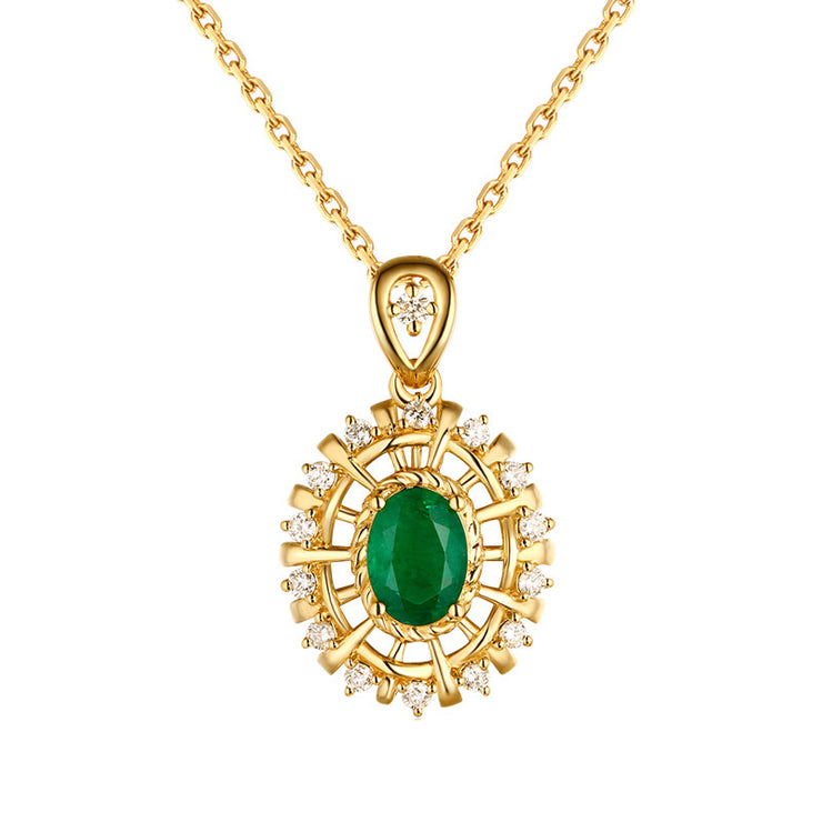 Wiley Hart 14K Gold or Sterling Silver Women's Diamond Halo Engagement Necklace with Green Sapphire Stone