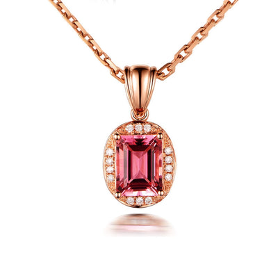 Wiley Hart 14K Rose Gold or Sterling Silver Women's Emerald Cut Necklace with Red Sapphire Stone Personalized Customized Jewelry
