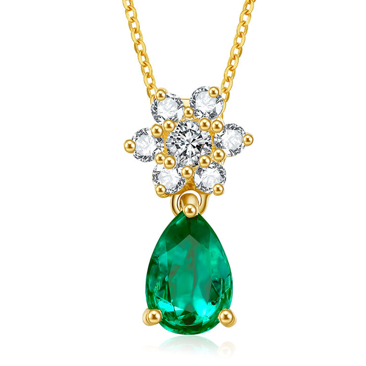 Wiley Hart 14K Gold or Sterling Silver Women's Diamond Petal Engagement Pendant Necklace with Pear Green Sapphire Stone