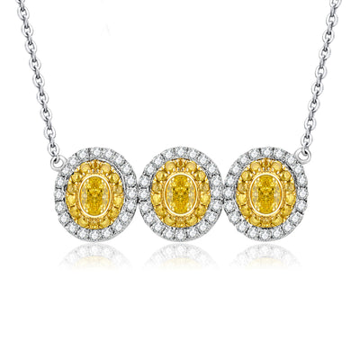 Wiley Hart 14K White Gold or Sterling Silver Women's Oval Three-Stone Pendant Necklace with Yellow Sapphire Stone