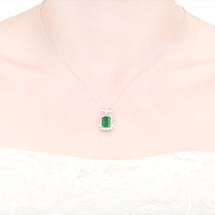 Wiley Hart 14K White Gold or Sterling Silver Women's Emerald Cut Gemstone Necklace with Green Sapphire Stone 20 Inches Silver Chain