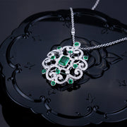 Wiley Hart 14K White Gold or Sterling Silver Women's Geometric Emerald Round Necklace with Green Sapphire Stone