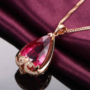 Wiley Hart 14K Rose Gold or Sterling Silver Women's European Palace Style Engagement Pendant Necklace with Pear Shape Red Sapphire Stone