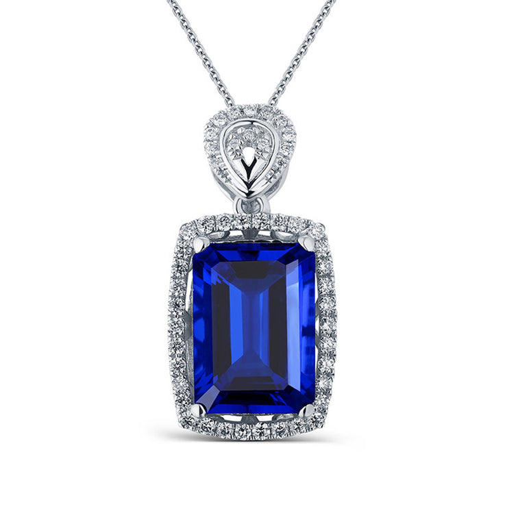 Large Emerald Cut 14K  White Gold or Sterling Silver Women's Halo Engagement Necklace with Blue Sapphire Stone Wiley Hart