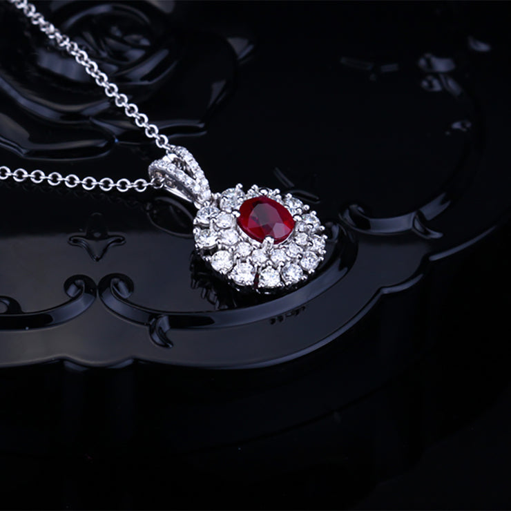 Handmade Customize Jewelry Women's Halo Necklace with Oval Red Sapphire Stone 14K  White Gold or Sterling Silver Wiley Hart