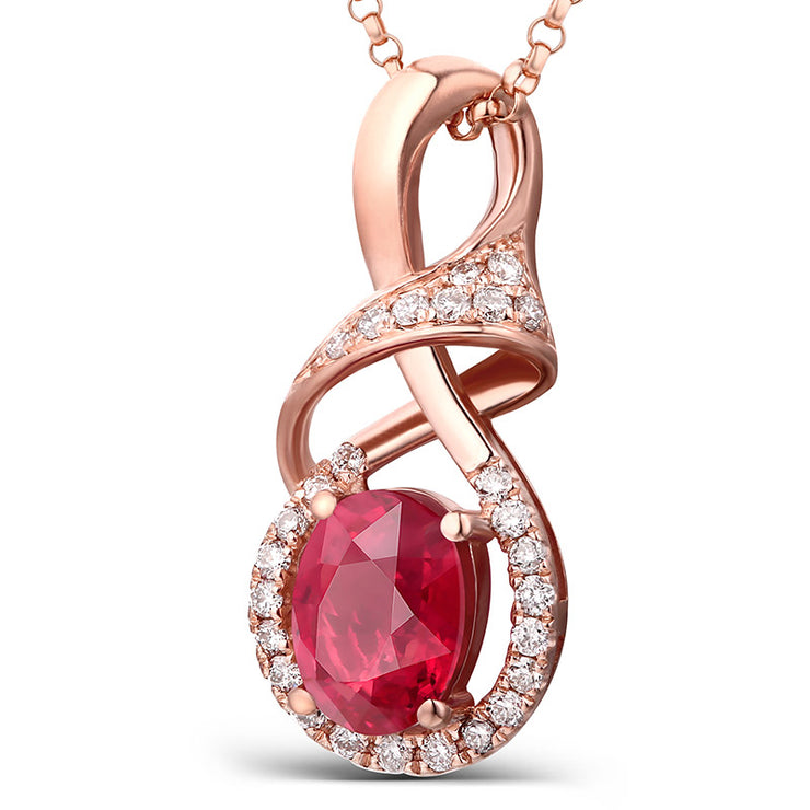 Wiley Hart 14K Rose Gold or Sterling Silver Women's Handmade Oval Engagement Necklace with Red Sapphire Stone
