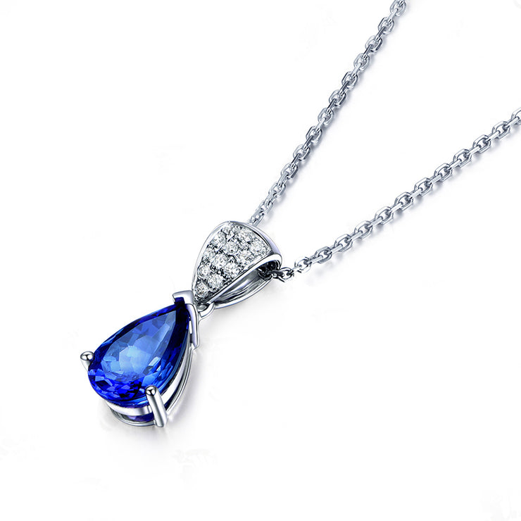Wiley Hart Women's Charm Pear Cut Engagement Necklace with Blue Sapphire Stone in 14K White Gold or Sterling Silver