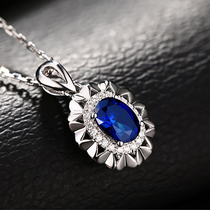 Sparkle 14K  White Gold or Sterling Silver Women's Elegant Oval Shape Necklace with Blue Sapphire Stone