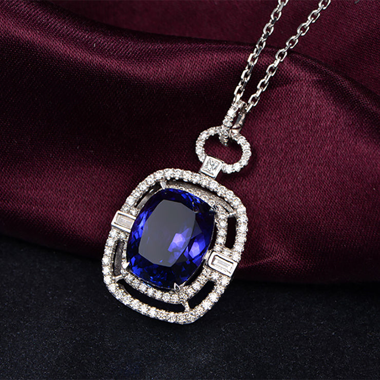 Personalized Customized Jewelry 14K  White Gold or Sterling Silver Women's Radiant Shape Necklace with Blue Sapphire Stone Wiley Hart