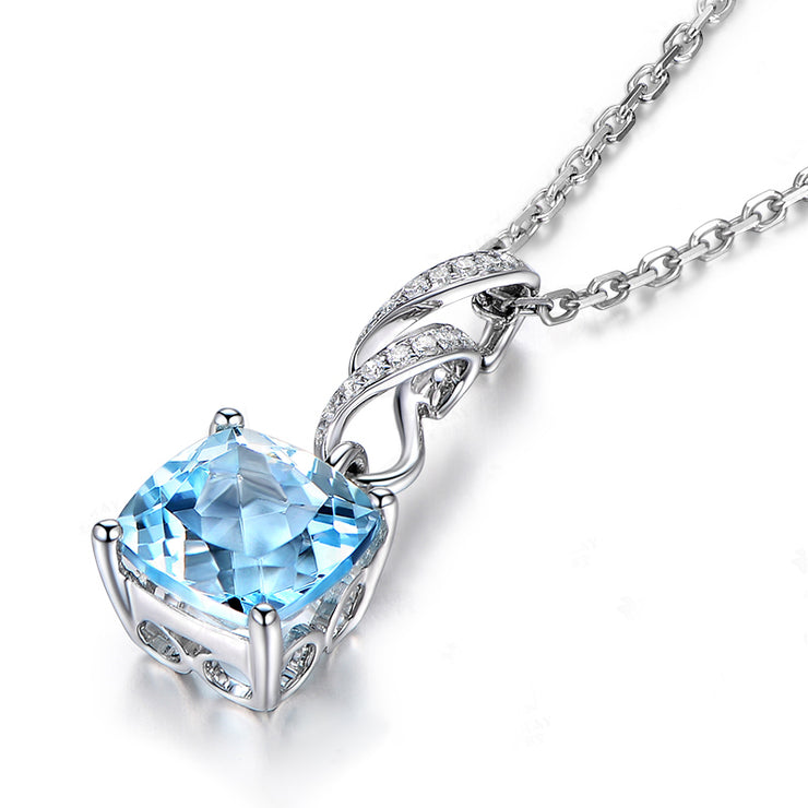 Wiley Hart Personalized Customized Fine Jewelry 14K White Gold or Sterling Silver Women's Fashion Radiant Necklace with Ocean Blue Sapphire Stone