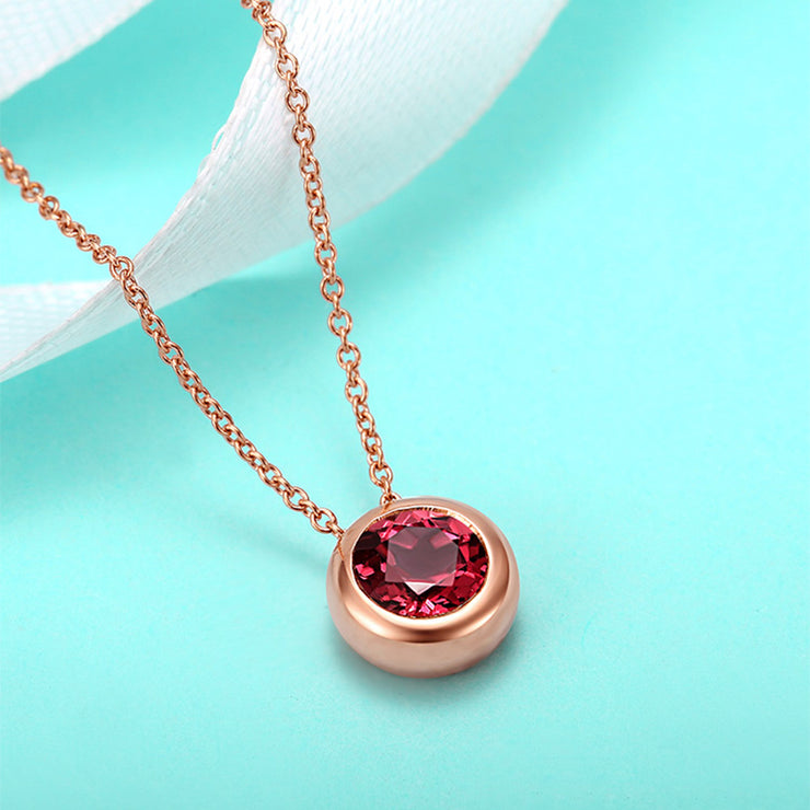 Fine Simple Jewelry Round Red Sapphire Pendant Necklace 14K Rose Gold or Sterling Silver  Personalized Customized Jewelry Wiley Hart