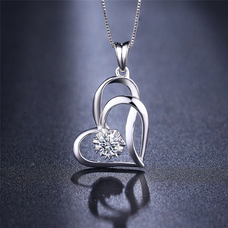 Wiley Hart 14K White Gold or Sterling Silver Women's Double Heart Engraving Necklace with White Round Sapphire Stone