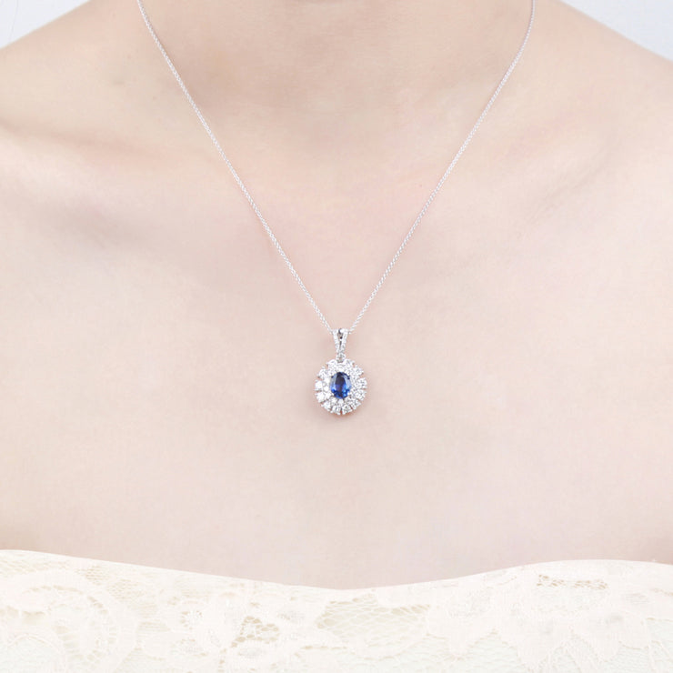 Wiley Hart 14K White Gold or Sterling Silver Women's Double Halo Necklace with Oval Blue Sapphire Stone Christmas Gift