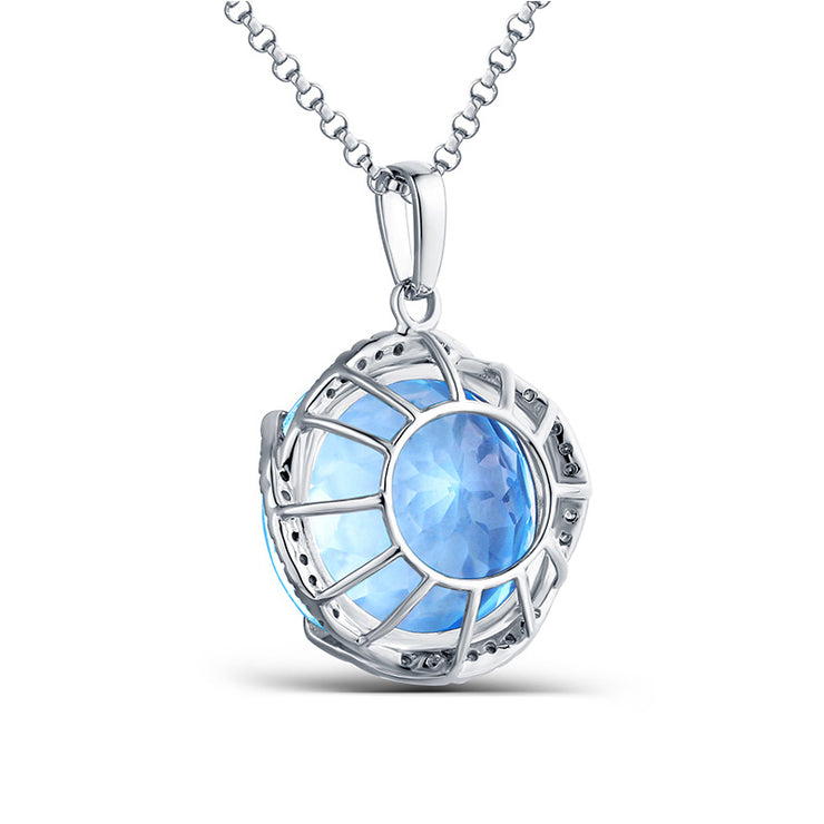 Wiley Hart 14K White Gold or Sterling Silver Women's Round Cut Necklace with Ocean Sapphire Stone