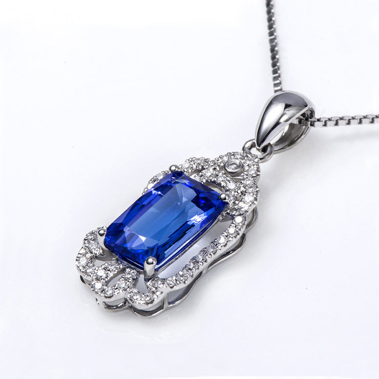 Wiley Hart Colorful Life 14K White Gold or Sterling Silver with Emerald Cut Blue Sapphire Pendant Necklace with 20 Inches Necklace Chain