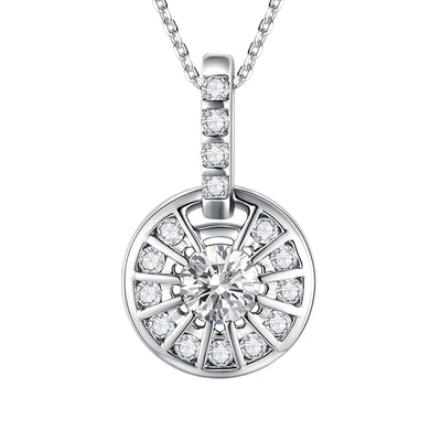 Wiley Hart 14K White Gold or Sterling Silver Women's Round Necklace with White Sapphire Stone