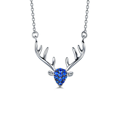 Animal Deer Antler Necklaces with Pear Blue Diamond Sapphire Browning Deer Choker Necklaces 14K White Gold or Sterling Silver Wiley Hart