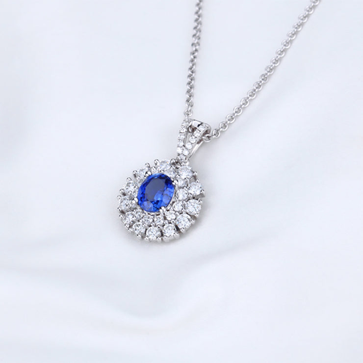 Wiley Hart 14K White Gold or Sterling Silver Women's Halo Pendant Necklace with Classic Oval Blue Sapphire Stone