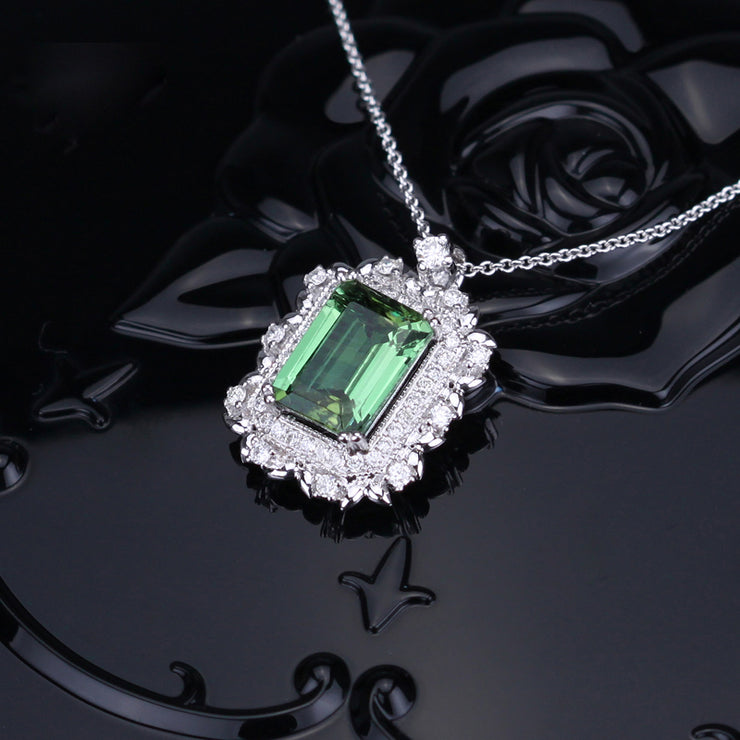 Wiley Hart 14K White Gold or Sterling Silver Women's Elegant Halo Necklace with Emerald Green Sapphire Stone