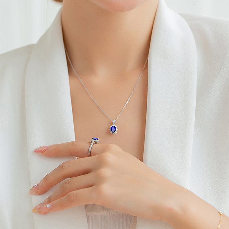 Handmade Blue Synthetic Sapphire Oval-Shape Pendant Necklace with 20-inch Box Chain 14K White Gold or Silver Wiley Hart