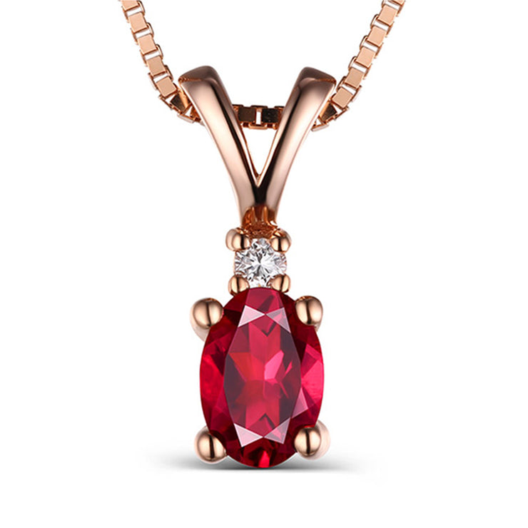 Wiley Hart 14K Rose Gold or Sterling Silver Women's Solitaire  Engagement Necklace with Red Sapphire Stone