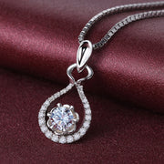 Wiley Hart 14K White Gold or Sterling Silver Women's Wine bottle Shape Necklace with White Round Sapphire Stone