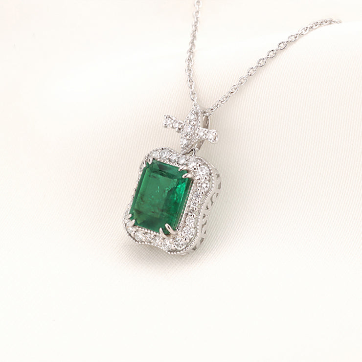 Wiley Hart 14K White Gold or Sterling Silver Women's Emerald Pendant Necklace with Green Sapphire Stone 18 Inch Silver Chain