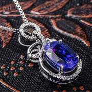 Wiley Hart Women's Elegant Oval Blue Sapphire Pendant Necklace Engagement Necklace 14K White Gold or Sterling Silver