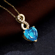 Wiley Hart 14K Gold or Sterling Silver Women's Heart Shape Number Eight Drop Necklace with Blue Sapphire Stone