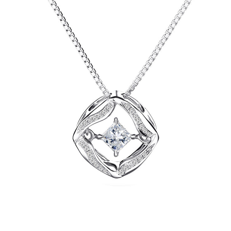 Wiley Hart 14K White Gold or Sterling Silver Women's Twist Halo Necklace with Round White Sapphire Stone