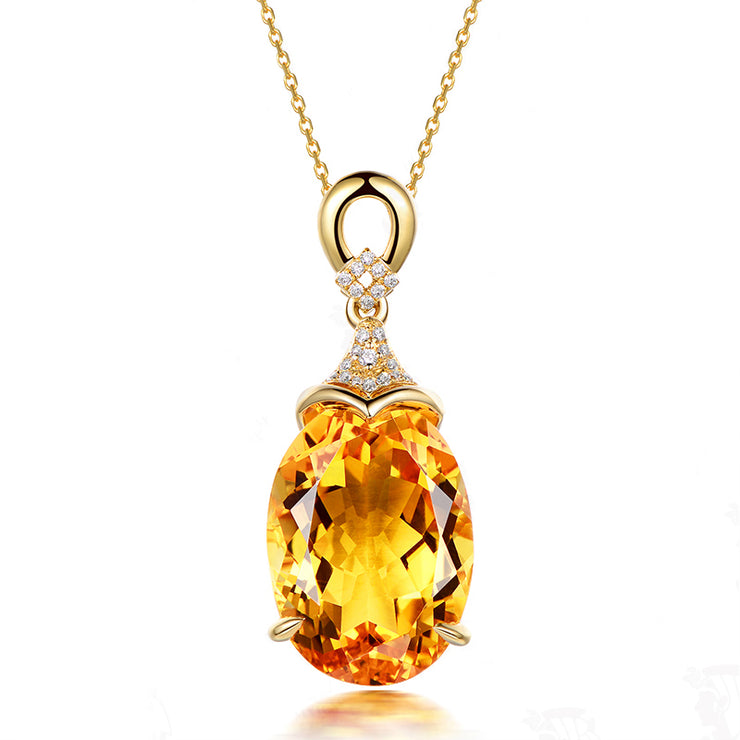 Wiley Hart Women's Oval Yellow Lab Created Sapphire Citrine Bridal Gold Necklace Wedding Necklaces Bridemaid Necklace 14K Gold or Silver