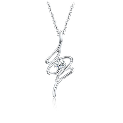 Wiley Hart Personalized Jewelry Customized 14K White Gold or Sterling Silver Women's Musical Note Necklace with Round White Sapphire Stone