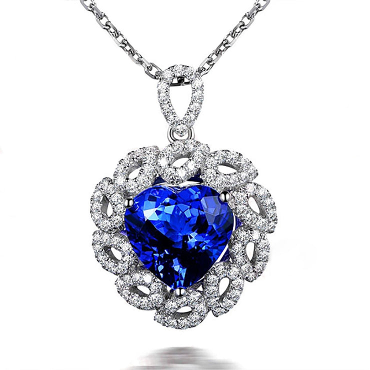 Wiley Hart 14K White Gold or Sterling Silver Women's Halo Pendant Necklace with Heart-Shaped Blue Sapphire Stone