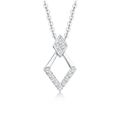 Double Parallelogram 14K  White Gold or Sterling Silver Women's Simple Necklace with White Sapphire Stone Wiley Hart