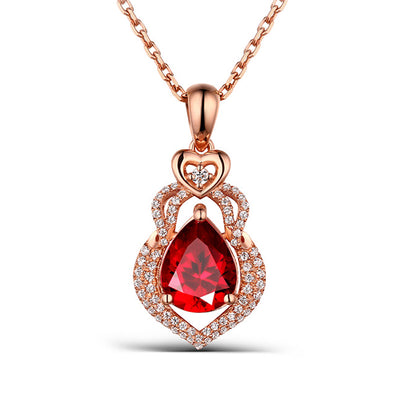 Women's New Design Heart Natural Garnet Pendant Necklace with Pear Red Sapphire Stone 14K Rose Gold or Sterling Silver Wiley Hart