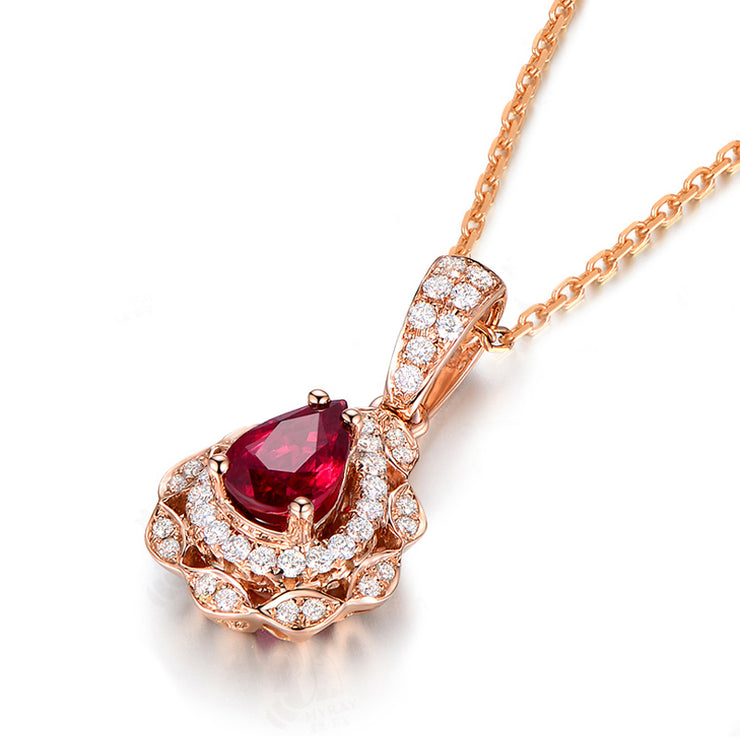 Wiley Hart 14K Rose Gold or Sterling Silver Women's 1.0 Ct Pear Shape Necklace with Red Sapphire Stone with 20 Inches Necklace Chain
