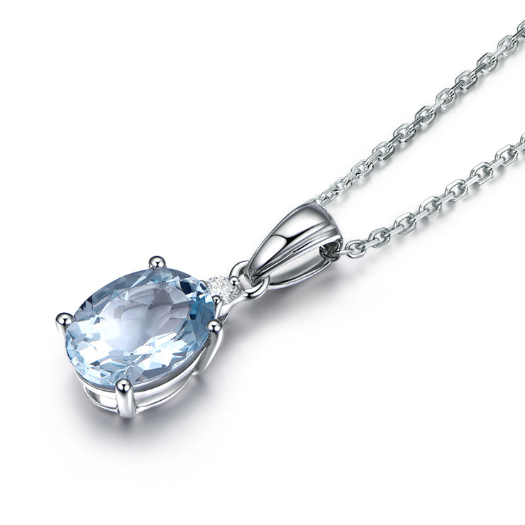 Women Fashion Jewelry 14K White Gold or Sterling Silver Oval Necklace Fine Jewelry with Ocean Blue Sapphire Stone Wiley Hart