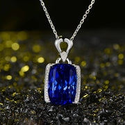 Wiley Hart 14K White Gold or Sterling Silver Women's Emerald Cut Drop Necklace with Blue Sapphire Stone